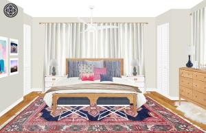 PREPPY ECLECTIC MASTER BLUE TRANSITIONAL DINING SERENE BEDROOM